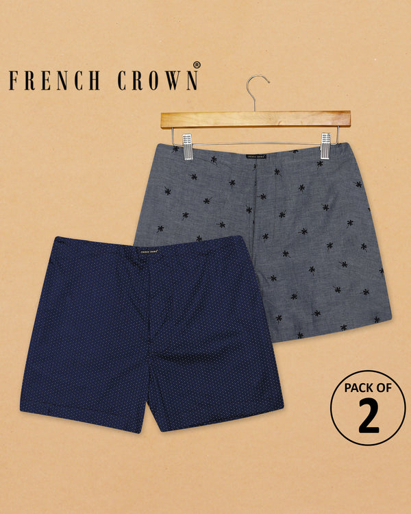 Grey Printed and Navy Dotted Premium Cotton Boxers