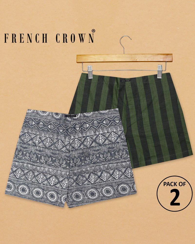 Indian Heritage Print and Green striped Premium Cotton Boxers