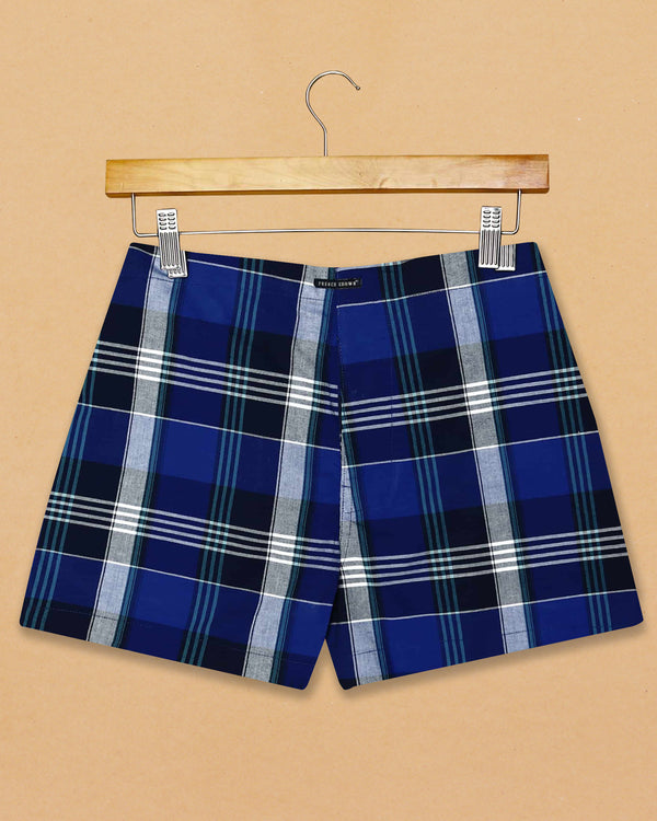 Blue Checked and Olive Twill Printed Boxers