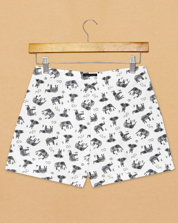 White Elephant Printed and Black Printed Premium Cotton Boxers