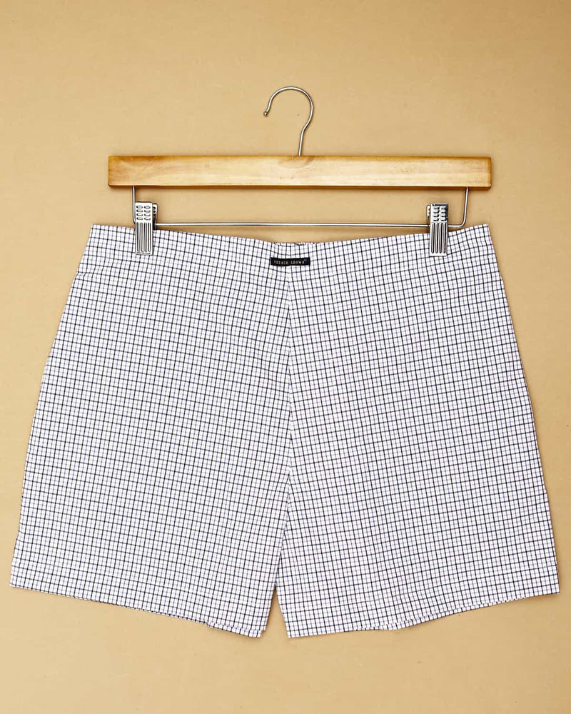 Blue Printed and White Checked Boxers