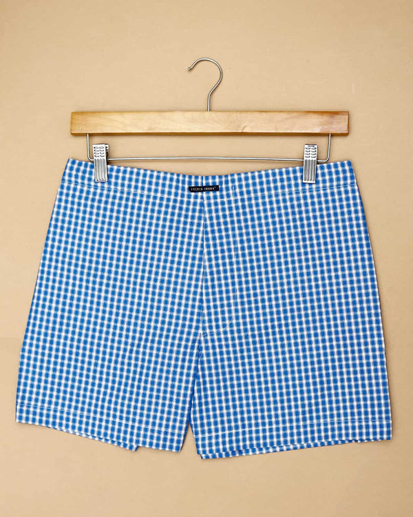 Blue Checked and White Striped Boxers