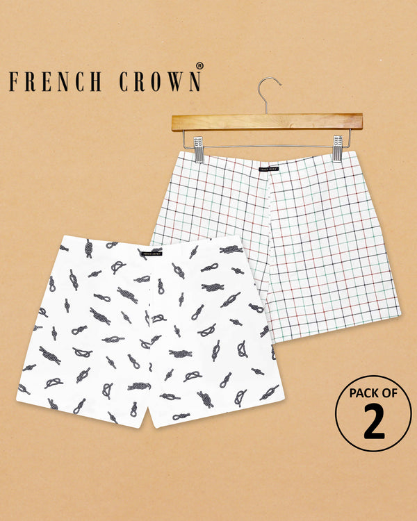 White Printed and White Checked Boxers