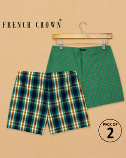 Green Micro Checked and Green Broad Checked Premium Cotton Boxers
