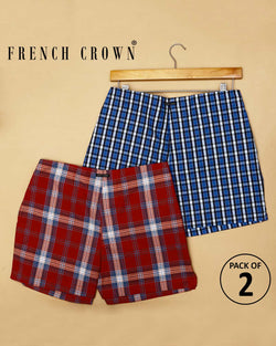 Red Broad Plaid and Blue Checked Boxers