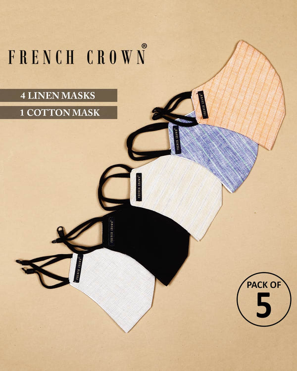 Viola-French Crown Pack Of 5 Linen/Cotton Masks