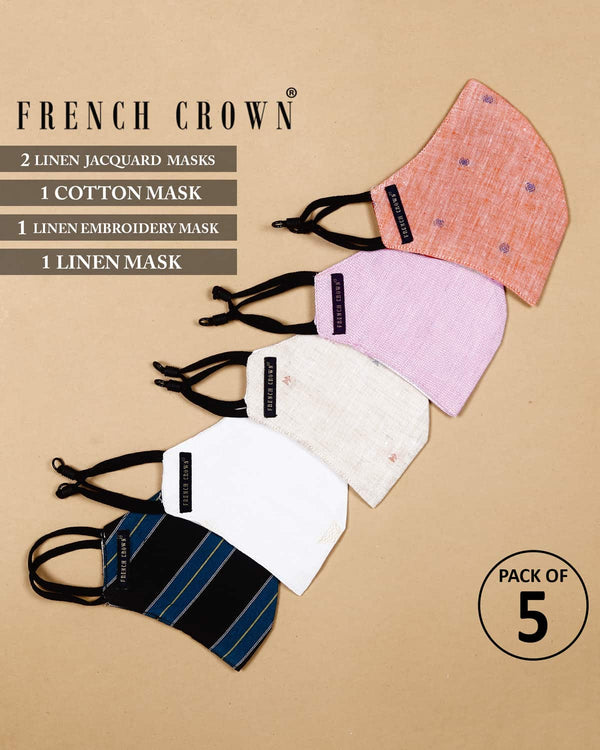 Raphael-French Crown Pack Of 5 Linen/Cotton Masks