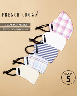 Jules-French Crown Pack Of 5 Linen/Cotton Masks