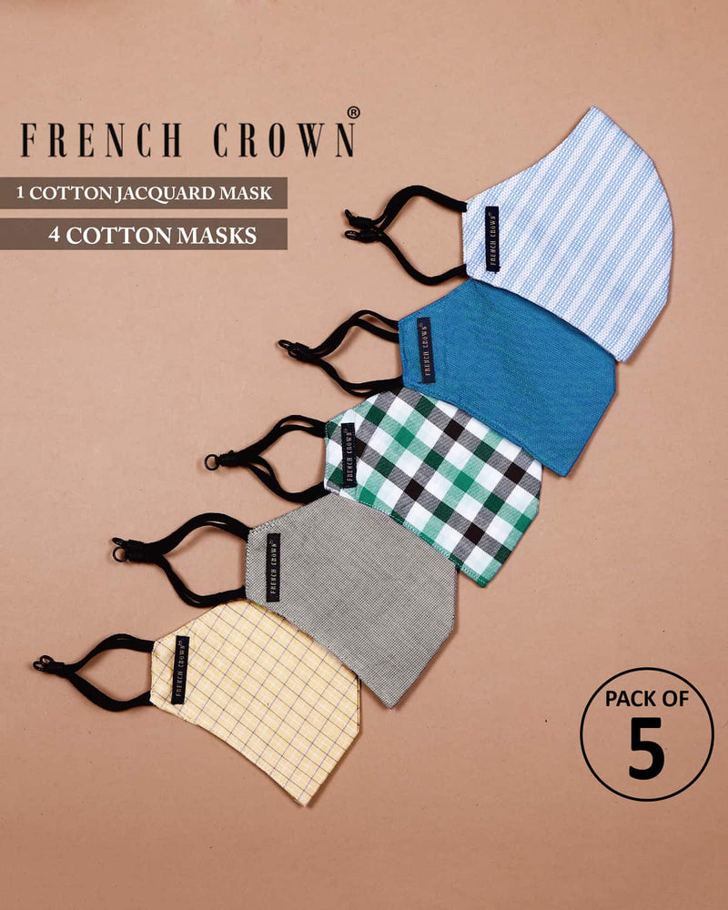Pratt-French Crown Pack Of 5 Cotton Masks