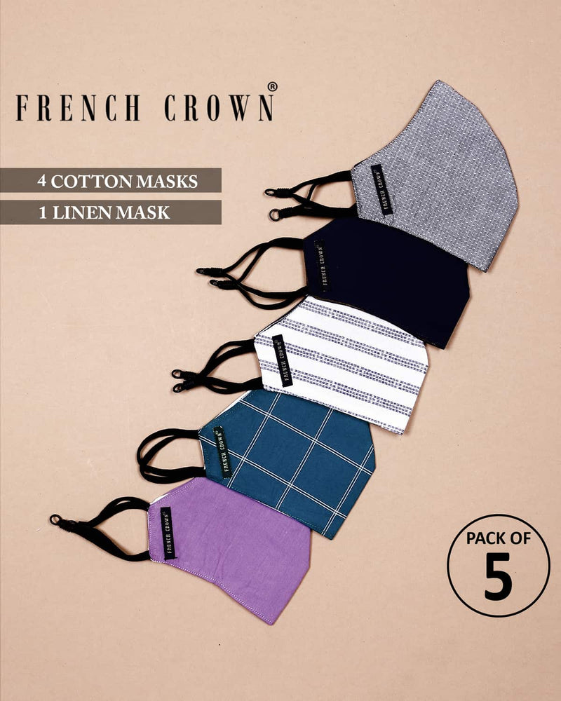 Wesley-French Crown Pack Of 5 Linen/Cotton Masks