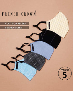 Yates-French Crown Pack Of 5 Linen/Cotton Masks