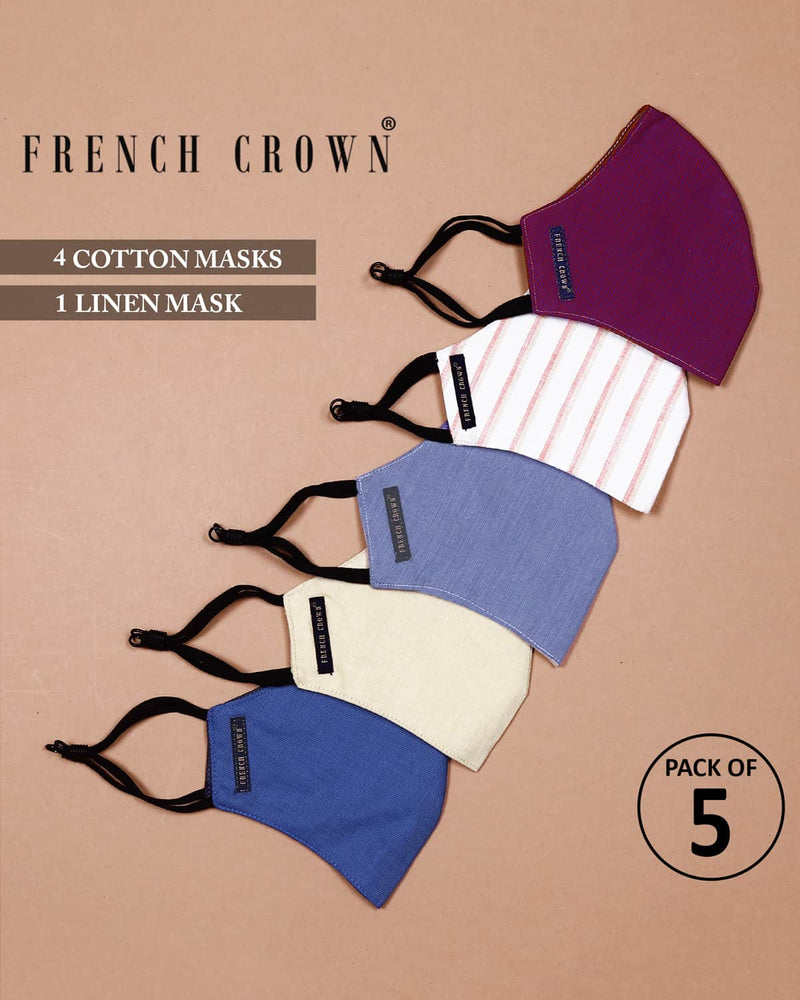 Addison-French Crown Pack Of 5 Linen/Cotton Masks