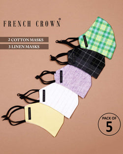 Ada-French Crown Pack Of 5 Linen/Cotton Masks