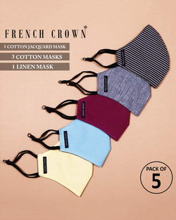 Carlin -French Crown Pack Of 5 Linen/Cotton Masks
