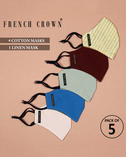 Kasey-French Crown Pack Of 5 Linen/Cotton Masks