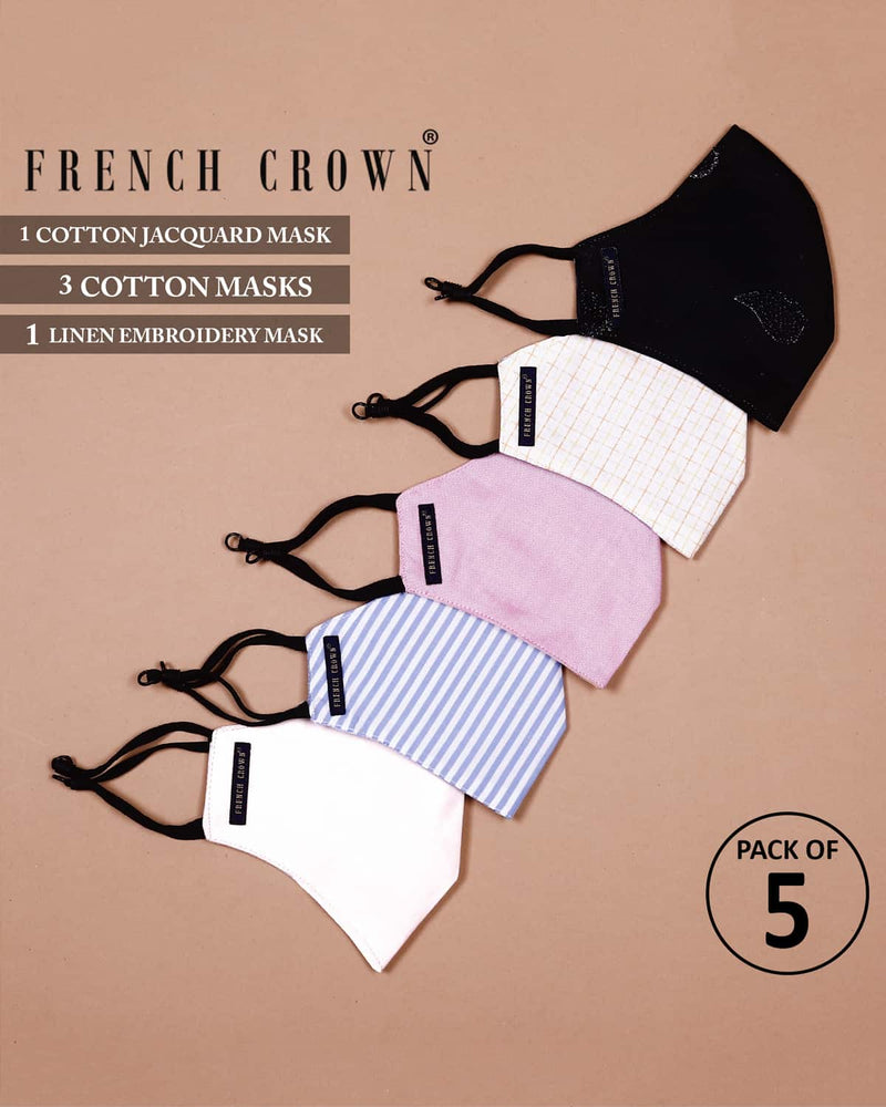 Redmond-French Crown Pack Of 5 Cotton Masks