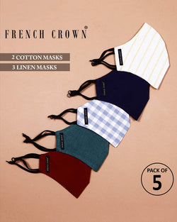 Lucille-French Crown Pack Of 5 Linen/Cotton Masks