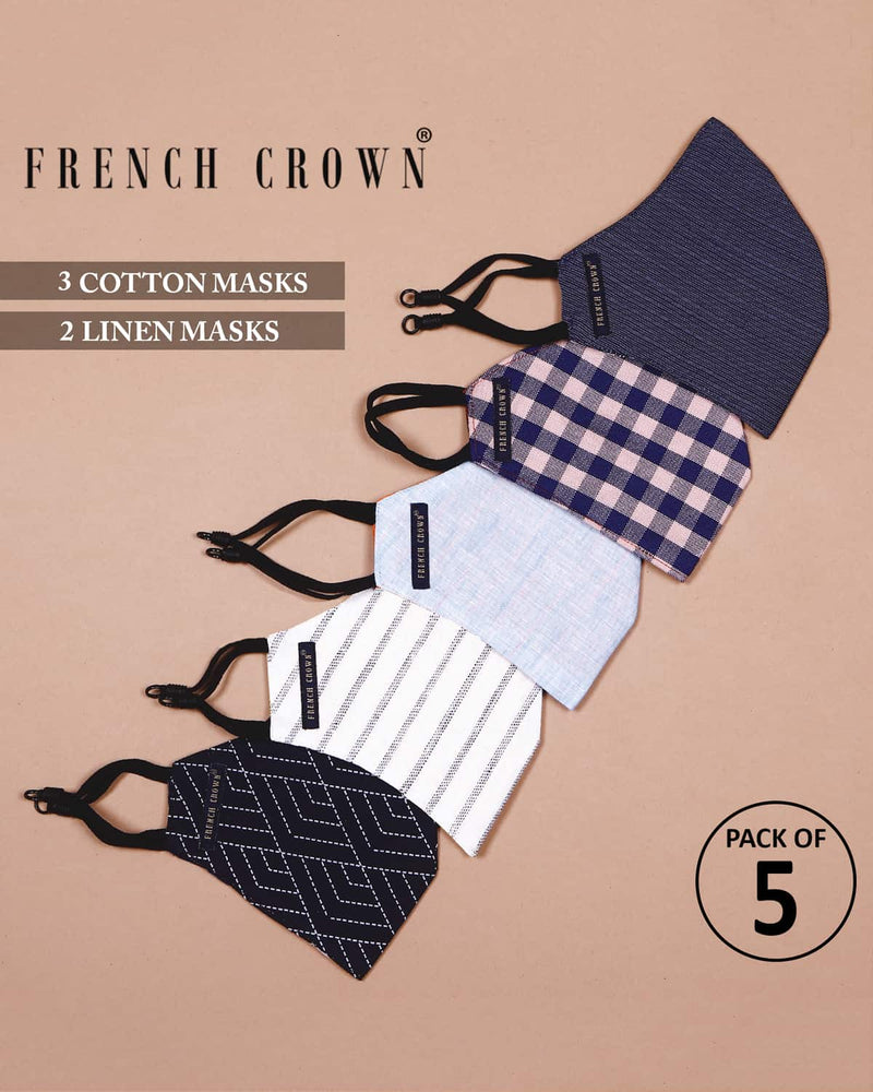 Vivian-French Crown Pack Of 5 Linen/Cotton Masks