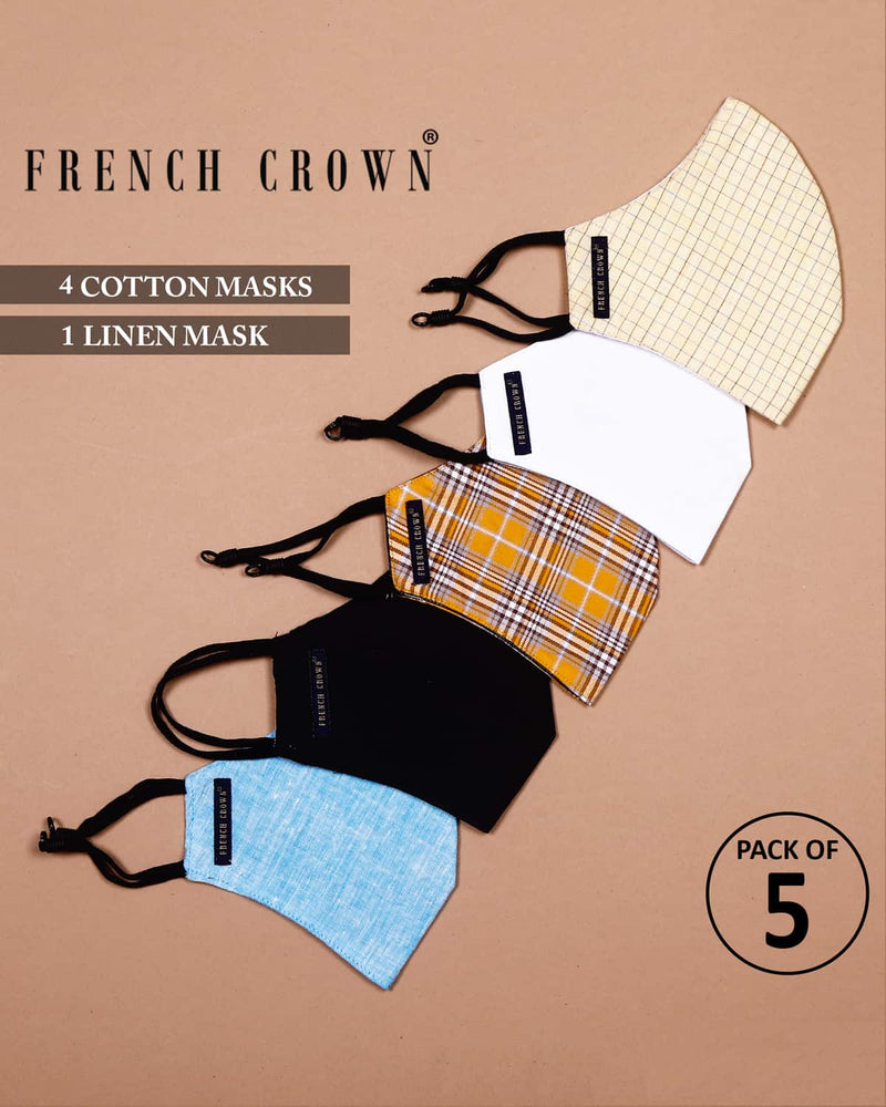 Hattie-French Crown Pack Of 5 Linen/Cotton Masks