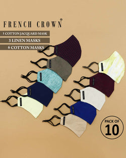 Aaron-French Crown Pack of 10 Linen/Cotton Masks