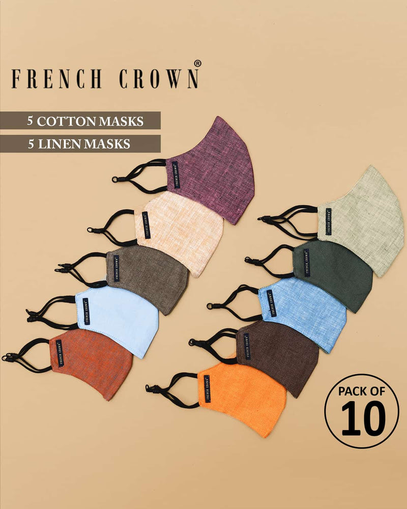Leonard-French Crown Pack of 10 Linen/Cotton Masks