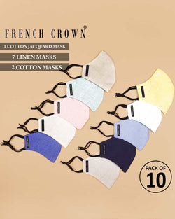 Mathis-French Crown Pack of 10 Linen/Cotton Masks