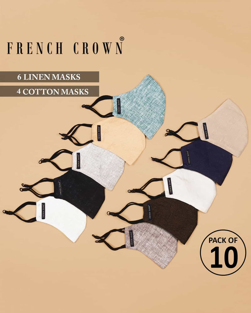 Naël-French Crown Pack of 10 Linen/Cotton Masks