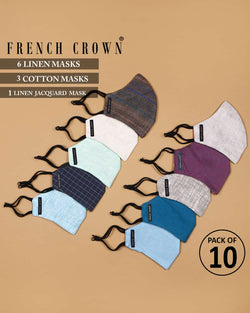 Yanis-French Crown Pack of 10 Linen/Cotton Masks