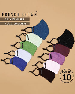 Basile-French Crown Pack of 10 Linen/Cotton Masks