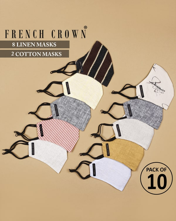 Timothée-French Crown Pack of 10 Linen/Cotton Masks