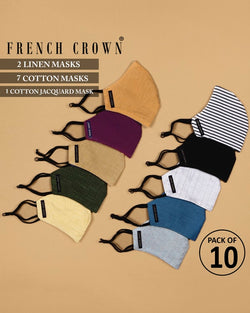 Ibrahim-French Crown Pack of 10 Linen/Cotton Masks