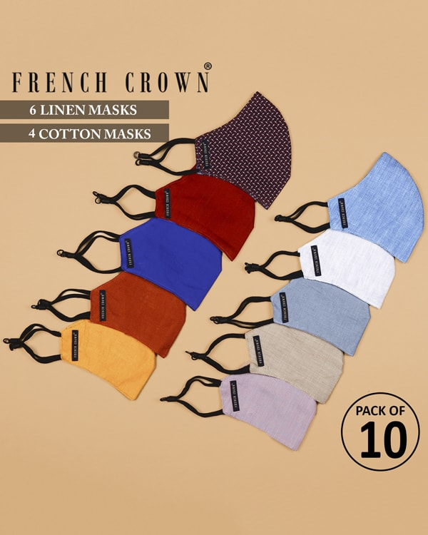 Marius-French Crown Pack of 10 Linen/Cotton Masks