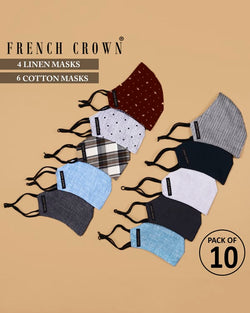 Youssef-French Crown Pack of 10 Linen/Cotton Masks