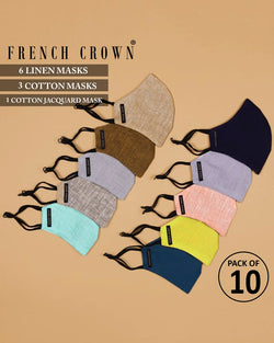 Jean-French Crown Pack of 10 Linen/Cotton Masks
