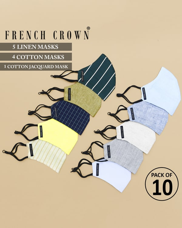 Hector-French Crown Pack of 10 Linen/Cotton Masks