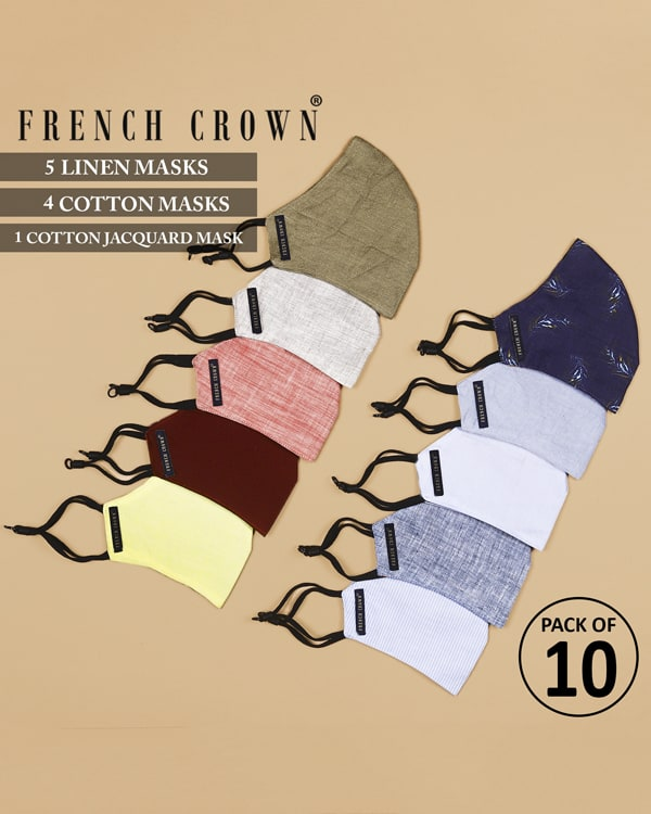 Auguste-French Crown Pack of 10 Linen/Cotton Masks