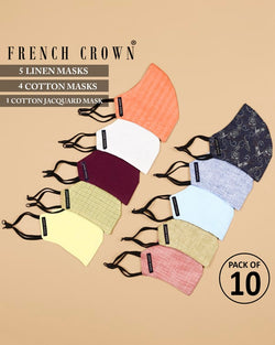 Theodore-French Crown Pack of 10 Linen/Cotton Masks