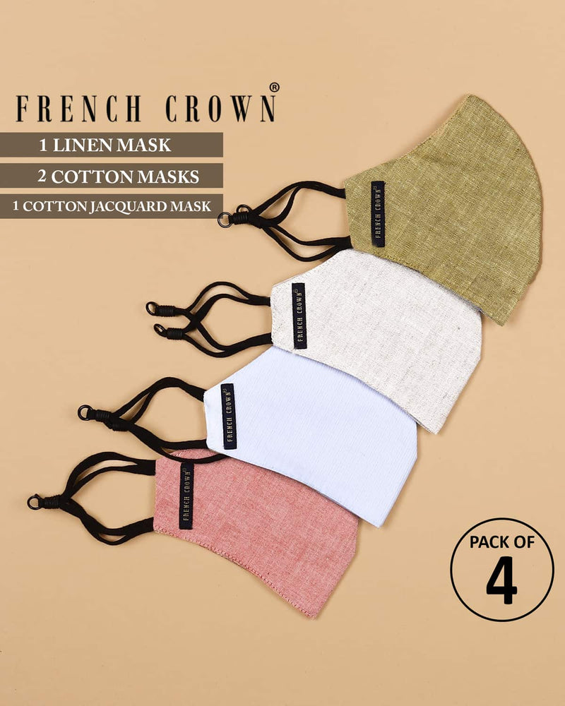 Gabin-French Crown Pack of 4 Linen/Cotton Masks