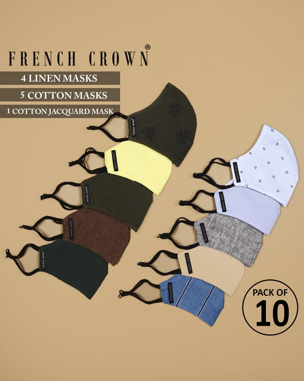 Edgar-French Crown Pack of 10 Linen/Cotton Masks