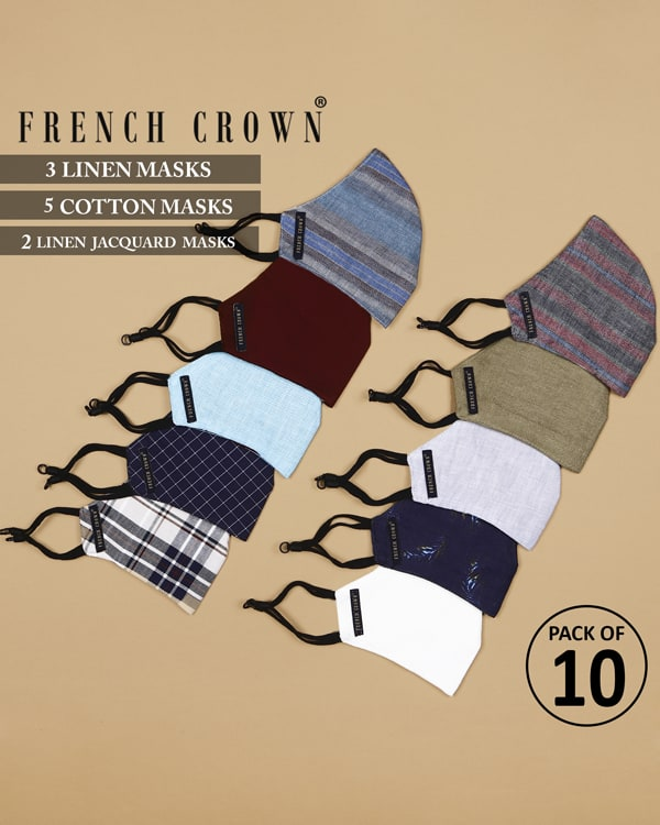 Noam-French Crown Pack of 10 Linen/Cotton Masks