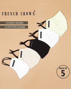 Jean-French Crown Pack Of 5 Linen/Cotton Masks