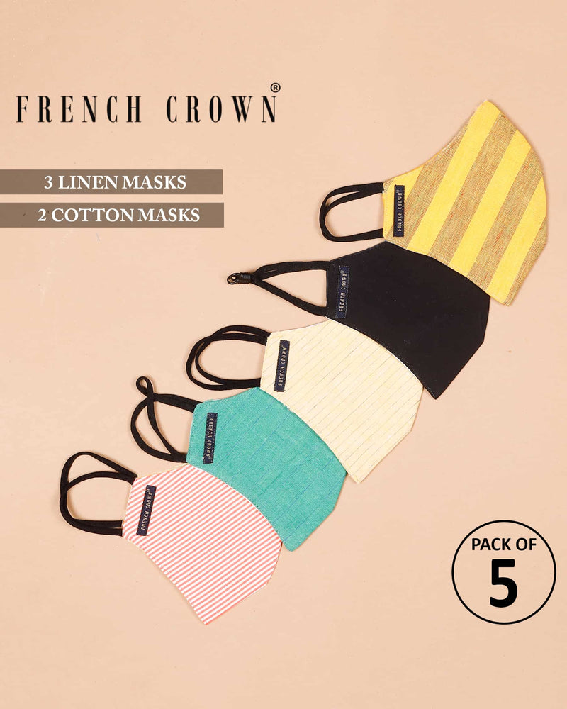 Ellison-French Crown Pack Of 5 Linen/Cotton Masks