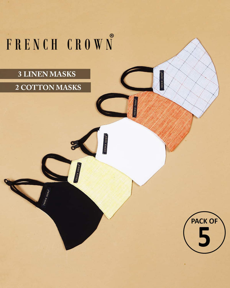 Constance-French Crown Pack Of 5 Linen/Cotton Masks