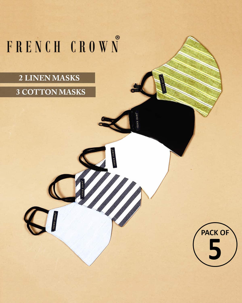 Gale-French Crown Pack Of 5 Linen/Cotton Masks