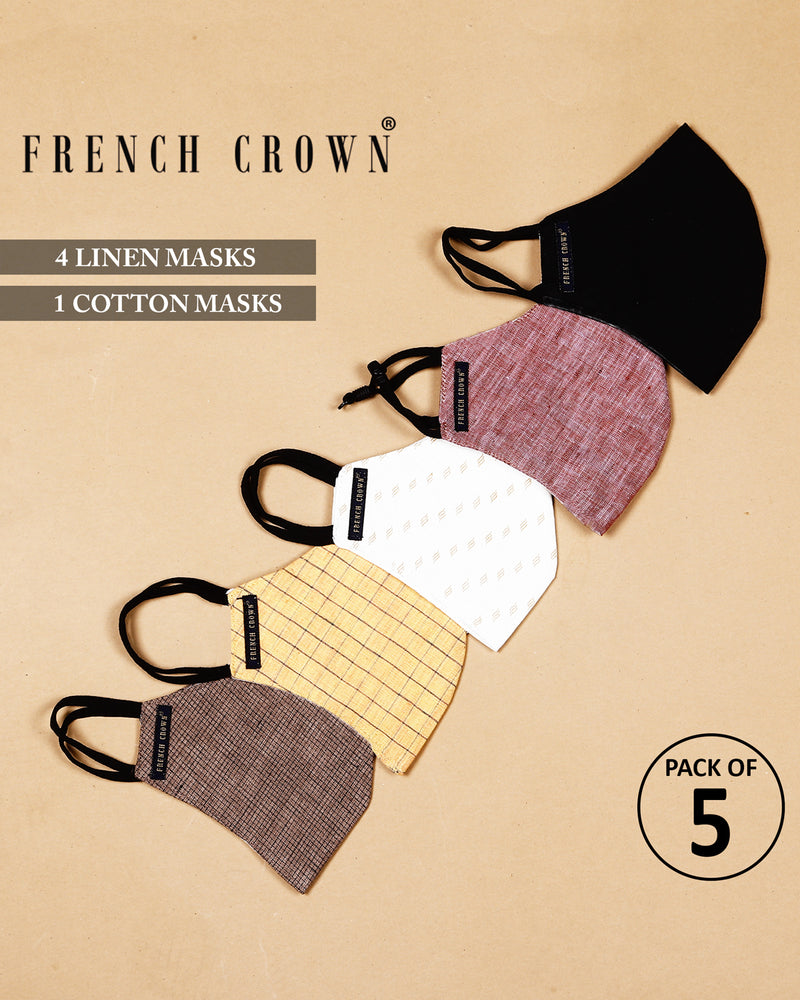 Reese-French Crown Pack Of 5 Linen/Cotton Masks