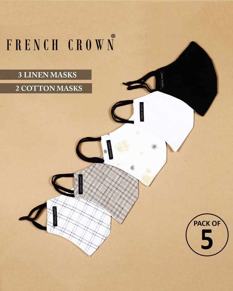Raleigh-French Crown Pack Of 5 Linen/Cotton Masks