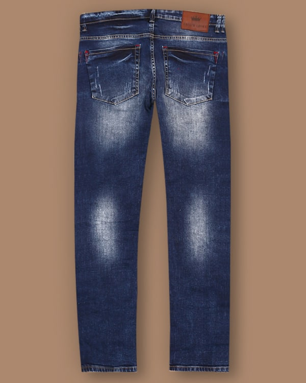 Dark Blue Mid-Rise Mildly Distressed Stretchable Jeans