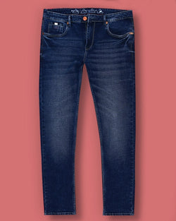 Dark Blue Mid-Rise Clean Look Regular fit Stretchable Jeans