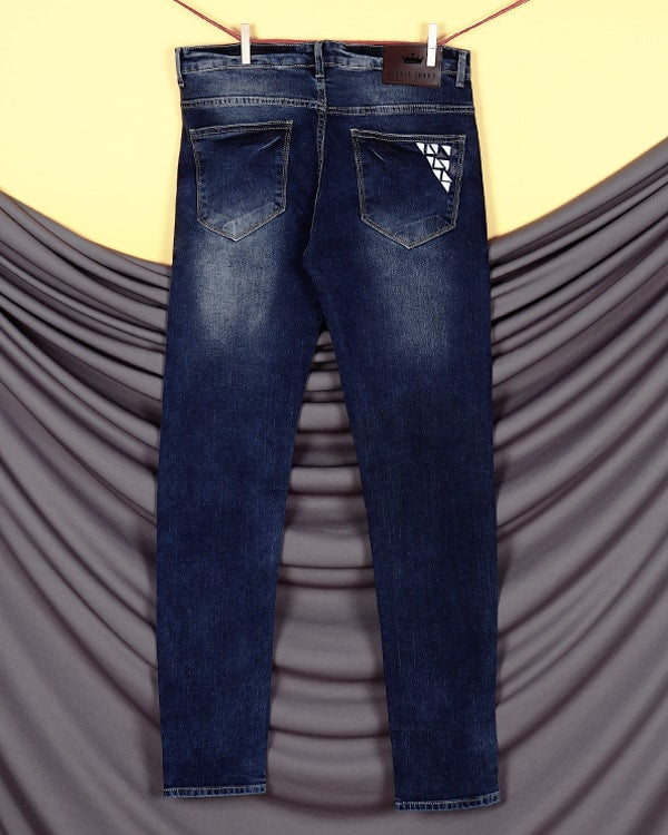 Greyish Blue Leather work Stretchable Jeans