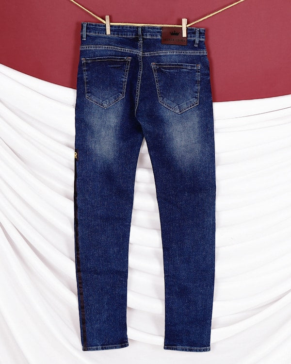 Robert - Mid Blue Side tape light-fade Stretchable Jeans